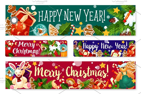 christmas new year holidays vector greeting banner illustrations