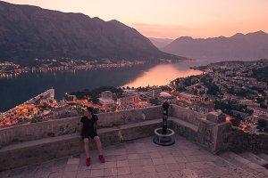 Kotor, Montenegro, one man cityscape