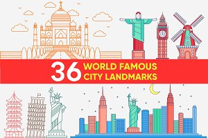 36 WORLD CITY LANDMARKS FLAT DESIGN