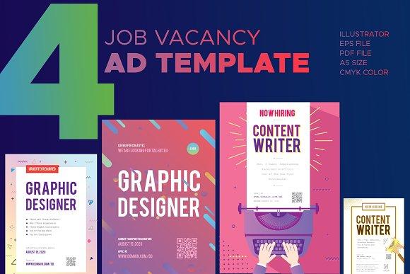 Job Vacancy Advertisment Flyer Templates Creative Market - Product ad template