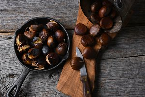Roasted Chestnuts and Uncooked Bucke