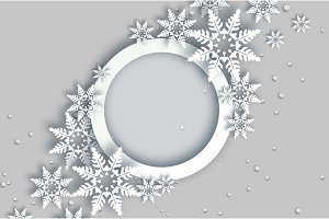Snowfall. Origami Happy New Year Greetings card. Merry Christmas. White Paper cut snow flake. Winter snowflakes. Circle speech bubble frame. Text. Holidays. Grey background. Vector