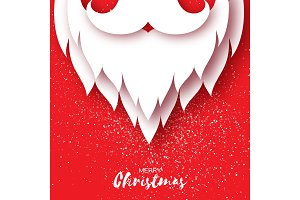 Merry Christmas card with Santa Claus beard and mustache