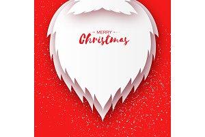 Merry Christmas card with paper cutout Santa Claus beard, mustache