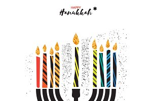 Colorful Happy Hanukkah Greeting card. Jewish holiday with menorah