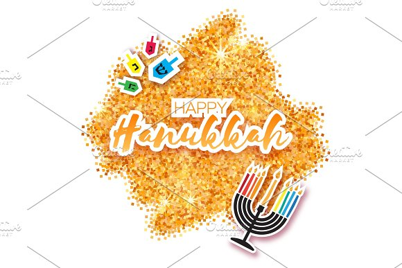 Colorful Origami Happy Hanukkah Greeting Card On Gold Glitter Background