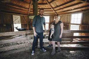 Family Spending time at the farm