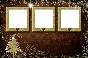 Christmas 3 empty photo frames card.