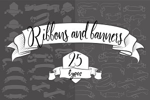 25 ribbons and banners - 3 colors
