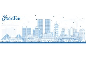 Outline Shantou China Skyline
