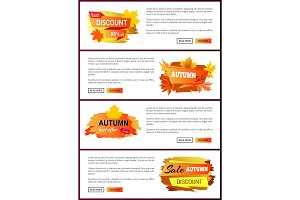 Set of Leaflets with Foliage Autumn Big Sale 2017