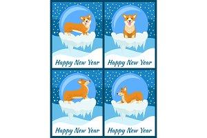 Happy New Year Congratulations from Cute Corgi