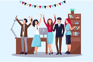 Happy People in Office on Vector Illustration
