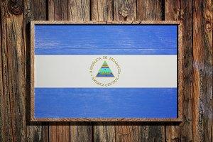 Wooden Nicaragua flag