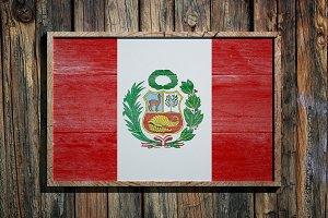 Wooden Peru flag