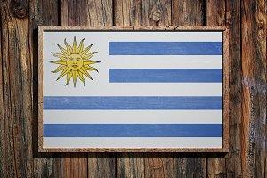 Wooden Uruguay flag