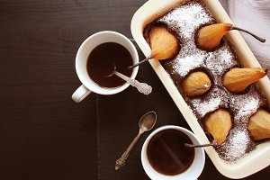 Chocolate loaf cake with whole pears