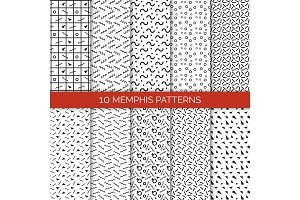 10 Memphis Patterns Set on Vector Illustration