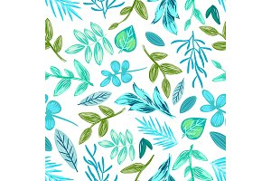 Drawn Plants Seamless Pattern Vector Illustration