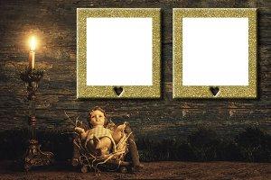 Jesus, gold gilt empty frames