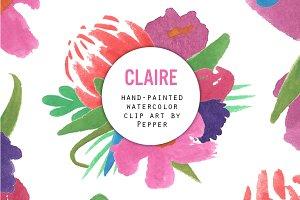 Claire - Floral Watercolor Clip Art