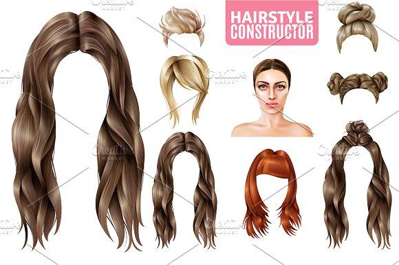 Female Hairstyle Set Illustrations Creative Market