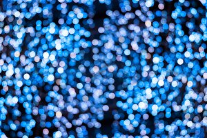 Blur bokeh blue unfocused Christmas lights background