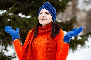 winter portrait smiling young woman