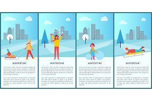 Wintertime City Park Activity Vector Illustration