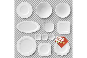 Collection of Plates, Letter Vector Illustration