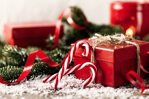 red Christmas gift composition