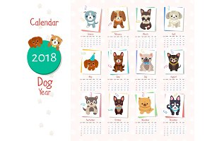 Calendar Dog Year Set on Vector Illiustration