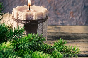christmas knitted candle with fir