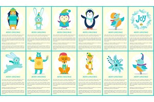 Merry Christmas Joy Posters Vector Illustration