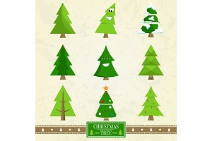 Christmas Tree Set of Icons on Vector Illustration