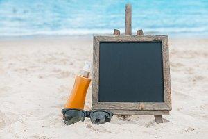 Chalkboard on the beach