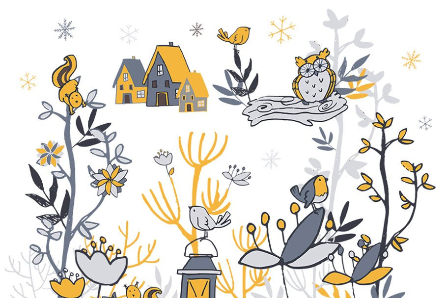Winter woodland. Clipart illustrations creative market