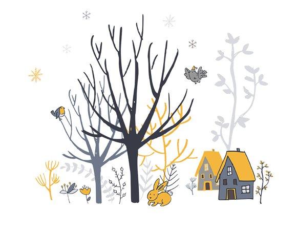Winter woodland. Clipart