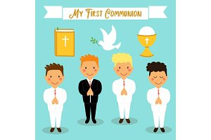 Cute set of design elements for First Communion for boys