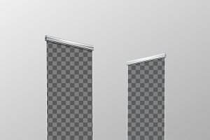 Two blank realistic roll-up banners