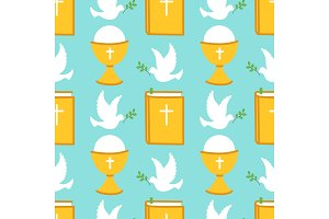 Cute seamless pattern for First Communion for boys