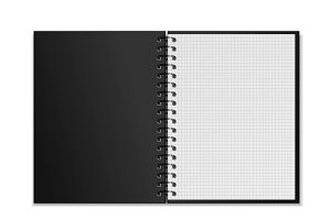 Black open realistic spiral notebook