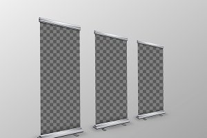 Blank realistic roll-up banners