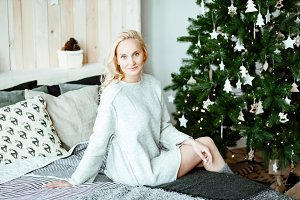 Christmas morning.blonde in sweater