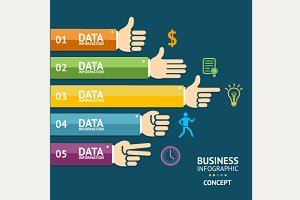 Vector business infographics, hands