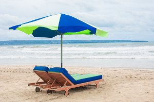 Sunbed lounger on a beach