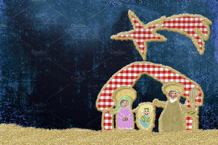 Cute Christmas Nativity Scene card ~ Holiday Photos ~ Creative Market