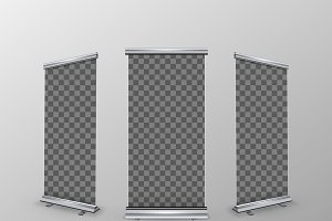 Three blank realistic rollup banners