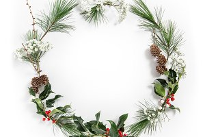 Christmas flat lay Christmas wreath