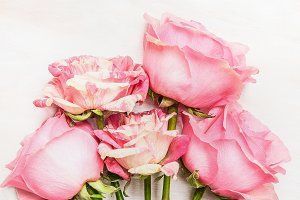 Pink roses bunch with love